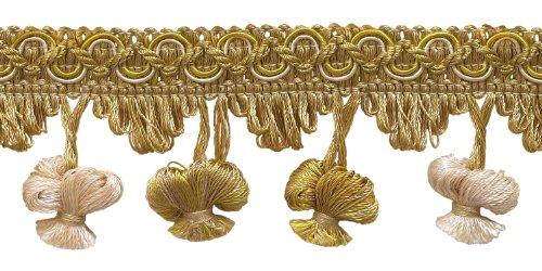 DecoPro 4,5Meter-Stück aus Gold mit 5cm Imperial II Zwiebel Tassel Fringe-nt2503-Farbe: Gold-2523(15m) -