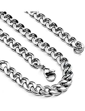 Flongo Edelstahl Kette Halskette Silber Kubanische Panzerkette Poliert Breit 5,5mm Länge 50cm Herren Damen