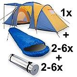 Camping-Komplett-Set bestehend aus Monkey Mountain Family-Zelt für bis zu 6