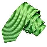 GASSANI Grüne schmale dünne 5cm Krawatte gestreift | Skinny Herrenkrawatte Hell-Grün zum Sakko Anzug | Schlips Binder einfarbig mit Streifen