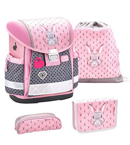 Belmil Schulranzen Set 4 - teilig ergonomischer Schulranzen Mädchen 1. klasse 2. klasse 3. klasse - Super Leicht 850-940 g/Grundschule/Hase grau rosa (403-13 Bunny)