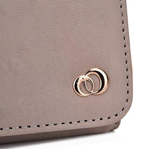 Kroo Pochette Housse Téléphone Portable en cuir véritable pour HTC Desire Eye, Huawei Ascend mate7 Violet - violet Gris - gris