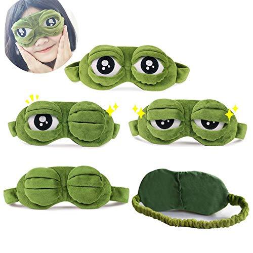 YUELANG Augenmaske Abdeckung Plüsch Der Traurige 3D Frosch Grüne Augenmaske Abdeckung Entspannen Schlafen Rest Reise Schlaf Anime Lustiges Geschenk Schönheitsbrille