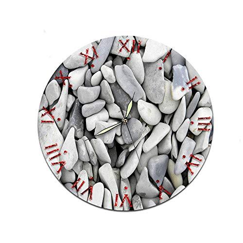 LUOYLYM Pebble Figure Dekorative Wanduhr Acryl Uhr Stummschaltung Startseite Kreative Wanduhr Craft Clock C223-17 (Luminous Pointer) 28CM