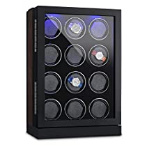 Klarstein Klagenfurt Uhrenbeweger Schaukasten Watch-Winder Rechts-Links-Lauf LED Touch-Display zur Aufnahme bis zu 12 Automatik-Uhren (schwarze Samt-Auskleidung, Schaumkissen, Kunststofftür) Schwarz