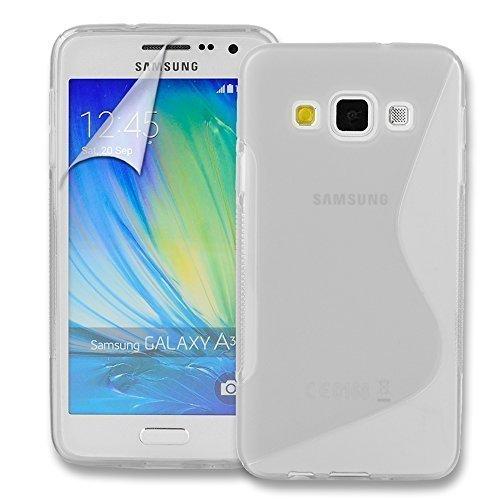 Connect Zone Samsung Galaxy A3 (A300F) S Ligne Silicone Gel Étui + Protection écran Protège Et Chiffon De Polissage - Transparent S Ligne Gel, .
