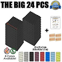 Super Dash (24 Unidades) de 25 X 25 X 3 cm Negro Insonorización Eggcrate Espuma Absorción Aislamiento Acústica Paneles Tratamiento Conjunto SD1040 (NEGRO)