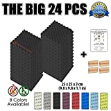 Super Dash (Lot de 24) de 25 X 25 X 3 cm Noir Insonorisation Egg Crate Acoustique d'isolation Traitement de Mousses Carreaux Panneaux SD1052 (NOIR)