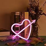 Jayvee LED Neonschild 26 Buchstaben Licht, Der Pfeil der Liebe Neonlicht Wand Wort Poster Hintergrund Raum Symbol-Rosa-Herz