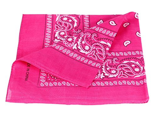 Bandana Zandana Kopftuch Halstuch Paisley Muster 100% Baumwolle, Farbe wählen:pink 11 (100% Muster Baumwolle)