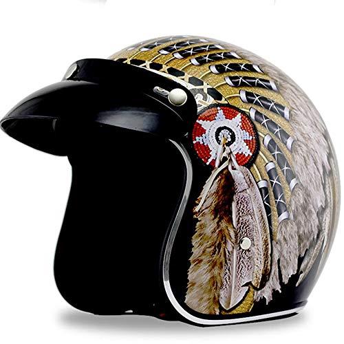 Casco Moto Indian Harley Mezzo Casco Casco retrò Casco Moto Casco Auto elettrica Uomo e Donna Doppia Fibbia di Sicurezza Traspirante (Colore : A1, Dimensione : S)