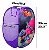 from Dream works Official Trolls Kids Laundry Basket,Bin Bag Girls Boys Toys,Clothes Storage