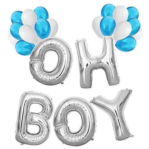 KUNGYO Decoraciones De Baby Shower para Chico-Gigante OH Boy Globos - Globo de Mylar De 40 Pulgadas En Letras O-H-B-O-Y Y 20 Piezas Globos De Látex Azules Y Blancos,Fiesta Colgando Suminist