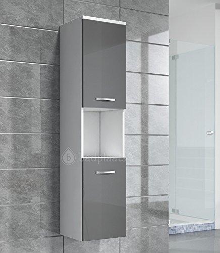 Badezimmer Schrank Montreal 131 cm Grau Hochglanz Fronten ? Regel Schrank Hochschr...