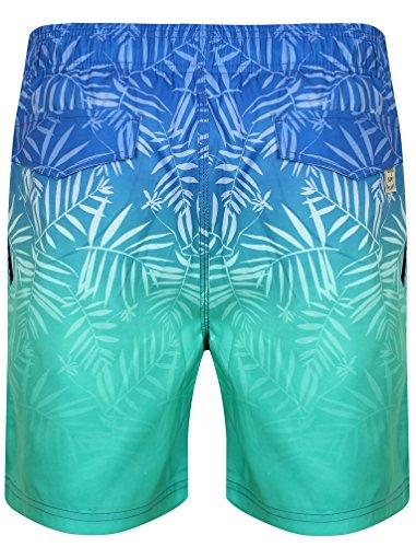 Tokyo Laundry Herren Cleopas Tropischer Ombre Gedruckt Badehose Größe S- XL Blau