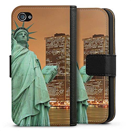Apple iPhone X Silikon Hülle Case Schutzhülle Skyline Freiheitsstatue New York Sideflip Tasche schwarz