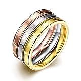 Chapado en oro de 18k anillo de tres colores para la mujer TGR025-A-7