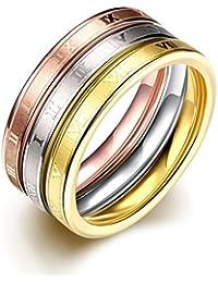 TGR025-A-6 - Anillo de acero inoxidable en tres colores para mujer