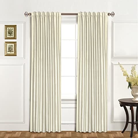 United Curtain 100-Percent Dupioni Silk Window Curtain Panel, 42 by 108-Inch, Oyster