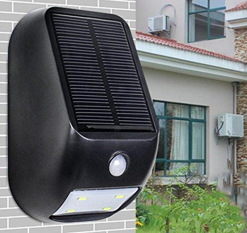 LED Solarleuchte Solarbetriebene Gartenleuchte Energie sparende Solarlampe Weiß Wandlampe Wandleuchte Außenleuchte Wasserdicht IP65 Bodeneinbauleuchte für Outdoor Garten (Schwarz) (Capris Flache Schwarze)
