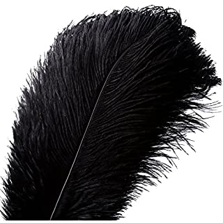 VoilaLove 10 pcs Plume d'Autruche Naturel Artisanat 16-18 Pouce (40-45 cm) Plume pour Centres de Mariage Décoration de La Maison (40-45cm,Noir)