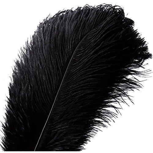 Natürliche Straußenfedern Handwerk 16-18 Zoll (40-45cm) Plume für Hochzeit Mittelstücke Dekoration (40-45cm,Schwarz) ()