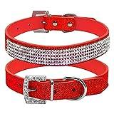 XIAOLANGTIAN Diamante Strass Pu Leder Katze Hundehalsbänder Rosa Für Kleine Mittelgroße Hunde Chihuahua Yorkie 5 Farben Größe Xs Sml, Rot, S