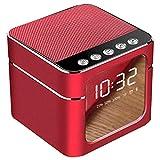 LOEROY Digitaler Wecker, Wecker mit Bluetooth Lautsprecher Funktion, tragbare Funklautsprecher mit Bluetooth 4.1, LED-Zeitanzeige, AUS, TF-Karte (Größe: × 85 × 70 mm).