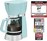 Clatronic KA 3689 Rock'n'Retro Filterkaffeemaschine für 15 Tassen, Glaskanne, Tropfstopp, Abschaltautomatik, 1000 W, Mint-grün