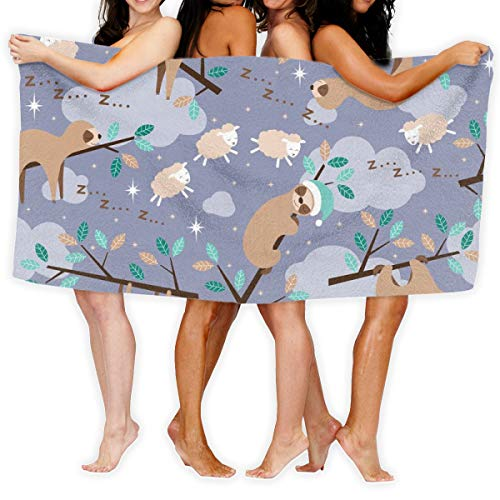 Strandtuch Bedtime Sloth Soft Lightweight Absorbent für Bad Schwimmbad Yoga Pilates Picknickdecke Handtücher