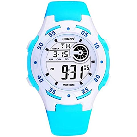 Feoya Moda LED Reloj Digital de Pulsera de Cuarzo (Alarma, Calendario, Cronómetro) Resistente al Agua 50M Infantil Watch para Niños Niñas Estudiantes - Azul