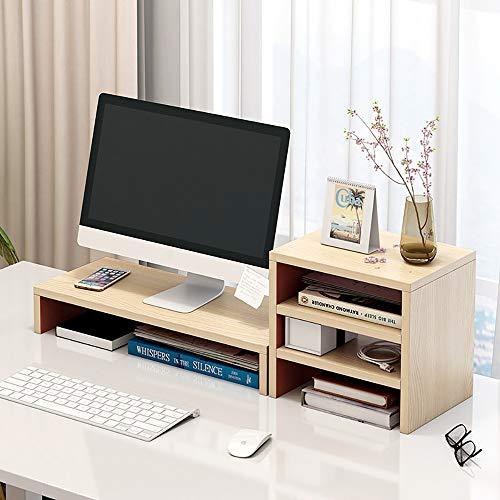 LXDDP Holz Monitorständer mit Aufbewahrungsregal - TV PC Laptop-Computer Bildschirm Riser Schreibtischablage - Einfach Modern Office Desktop Studentenwohnheim Kleines Bücherregal -