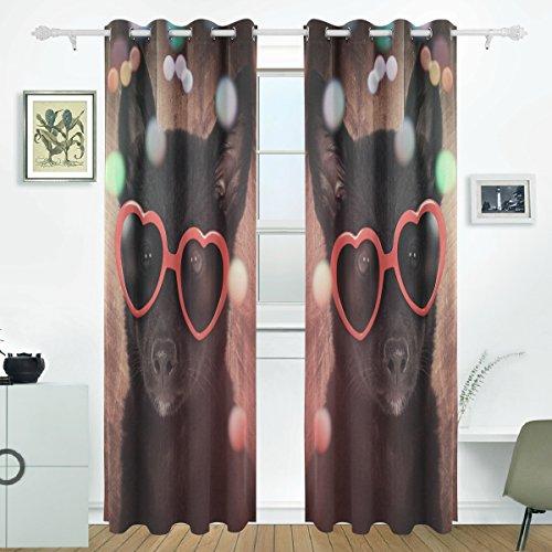 JSTEL Cute Schwarz Hund mit Rot Heart Sonnenbrille Holz Vorhänge Panels Verdunklung Blackout Tülle Raumteiler für Terrasse Fenster Glas-Schiebetür Tür 139,7x 213,4cm, Set von 2 (Tür-panel Hund Terrasse)