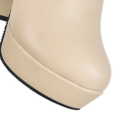 VogueZone009 Donna Tacco Alto Alta Altezza Chiodato Cerniera Stivali con Talismano Albicocca
