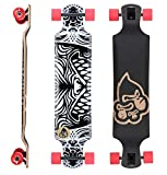 BIKESTAR Premium Canadian Maple Drop Down Flush Cut Pro Longboard Skateboard für Kinder und Erwachsene auch Anfänger ab ca. 10 - 12 Jahre ★ 75mm Freeride/Long Distance Pushing Edition ★ Beast In You Design