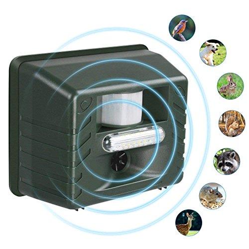 Sumeber Ultraschall Tiervertreiber - mit Stoboskopblitz und Raubiergeräusch-Funktion - Wetterfest- vertreibt wirksam Ratten, Füchse und Andere Wildtiere