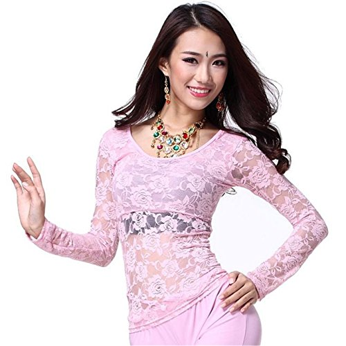 Dance Tops Lace Blouse Long Sleeve Top Bra Dancewear Dance Costumes Light Pink