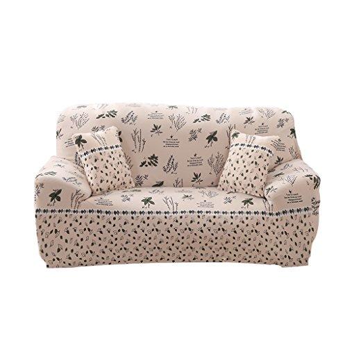 MagiDeal Weiche Stretch Sofabezüge Sofahusse, Landhausstil Weiche Hussen für 1-/2-/3-Sitzer Couch Sofa - Beige Floral, 190-230cm