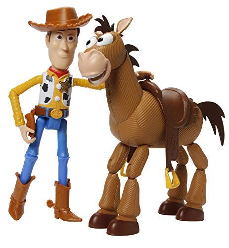 Mattel GDB91 - Toy Story 4 2er Pack Woody und Bully Abenteuerset, 17 cm Spielzeug Action Figur und Pferd ab 3 Jahren