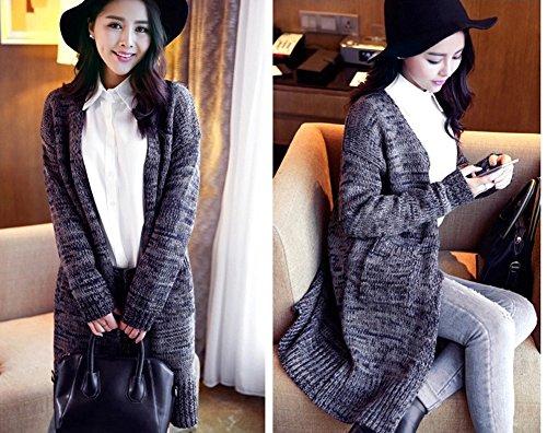 YOUJIA Femmes Casual Mi-longue Manche longue Tricot Chandail Cardigans Pull Sweaters #3 Cyan