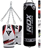 RDX Punch Bag Filled Set Kick Boxing Heavy MMA Training with Gloves Punching