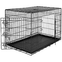 dibea DC00495, Transportkäfig für Hunde und Kleintiere, stabile Box aus kräftigem Draht, faltbar / klappbar, 2 Türen, mit Bodenschale, Größe 3XL