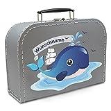Kinderkoffer Pappe silber mit Wal und Wunschname 25 cm, Malkoffer Spielzeugkoffer Spielkoffer Puppenkoffer Pappkoffer