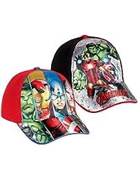 Pack 2 gorras de tela adaptables 2 diseños diferentes AVENGERS (Marvel) rojo y negro