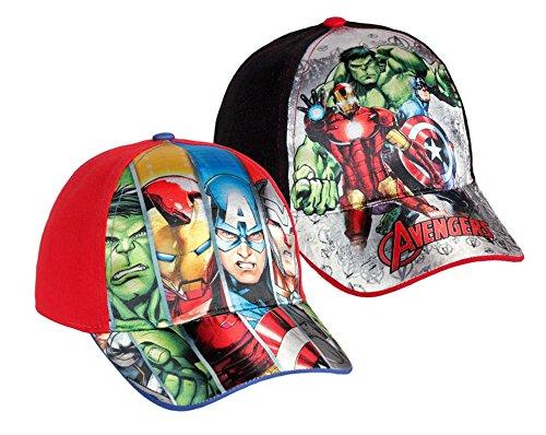 Pack 2 gorras de tela adaptables 2 diseños diferentes AVENGERS (Marvel) rojo  y negro c9c61e46538