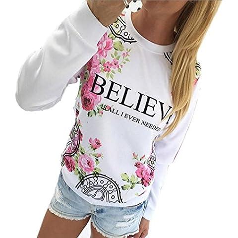 GillBerry Niña Mujer Estampado floral Manga larga Cálida Preciosa Blusa