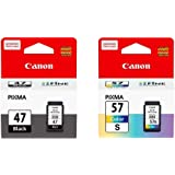 Canon PG-47 and CL-57s Ink Cartridge Combo for Pixma E-400 Printer (Black and Colour)