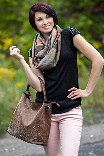 styleBREAKER Handtaschen Set mit Strass Applikation im Sternenhimmel Design, 2 Taschen 02012013 Grau