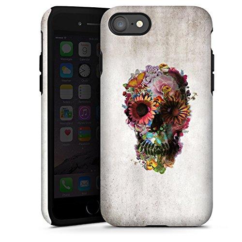Apple iPhone X Silikon Hülle Case Schutzhülle Totenkopf Skull Blumen Tough Case glänzend