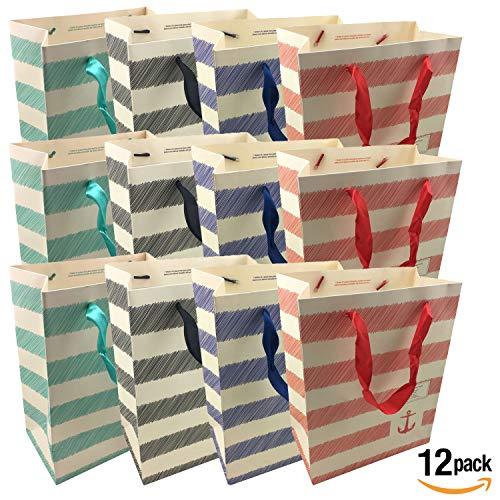 NimNik Hochwertige Geschenktasche [12 Stück] Papiertüte Präsenttüten im 4 Design. Geschenktüte für Geburtstag, Hochzeit,Weihnachten und Gastgeschenke